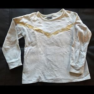 Grey and white sweatshirt with gold detailing